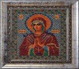 """Оформление вышивки бисером в багет. """"Богородица Умягчение Злых Сердец"""" (икона, Радуга бисера, B-154)."""
