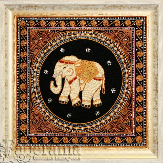 Вышивки бисером в багет белый слон
