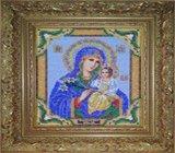 """Оформление вышивки бисером в багет. """"Богородица Неувядаемый Цвет"""" (икона, Радуга бисера, B-171)."""