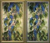 """Оформление вышивки бисером в багет. """"Синие брызги"""" (птицы, гроздья винограда, Краса i Творчiст, 21010)."""