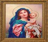 """Оформление вышивки бисером в багет. """"Мадонна с младенцем"""" (икона, Butterfly, 412)."""